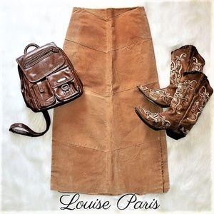 Vintage Leather Skirt Tan Pencil Skirt